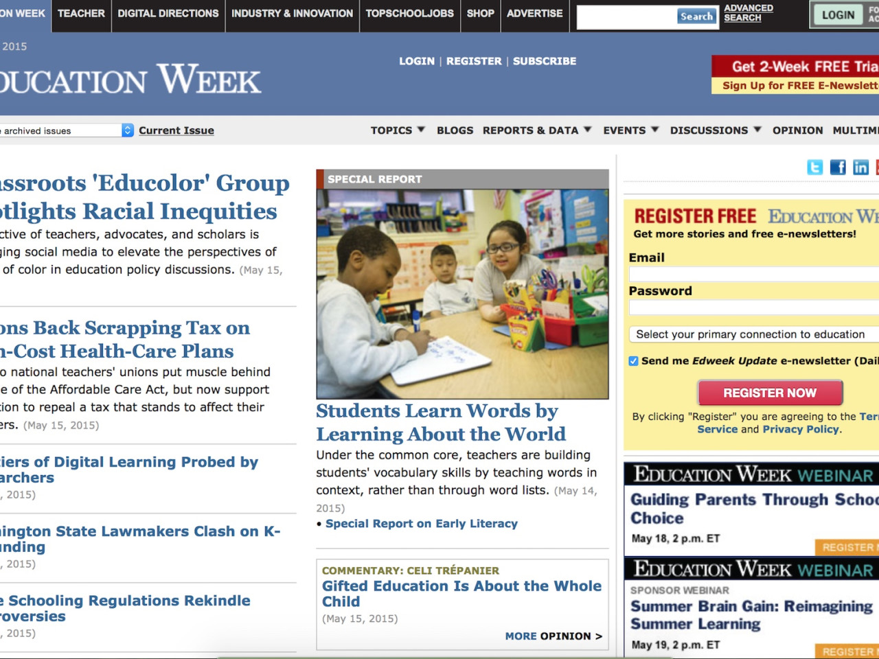 EdWeek Front Page